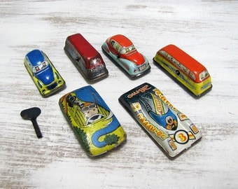 Vintage Tin Cars-6 pcs and Key -Two Buses /Two Spor Car /Two Car