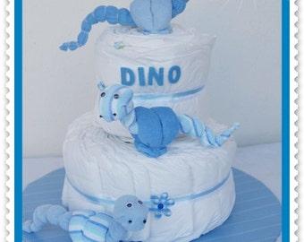 Diaper cake Dino blue boys