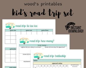 Kids Road Trip Set; Road Trip Games, Kid's Road Games, Travel Games, Car Games, Road Trip Planner, Travel Planner, Vacation Planner