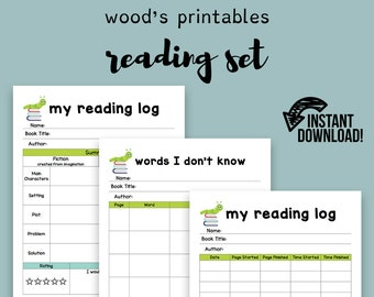 Reading Log; Reading Tracker, Homeschool, Book Tracker, Book Log, Back to School, Homeschooling, Reading Journal, Reading Chart