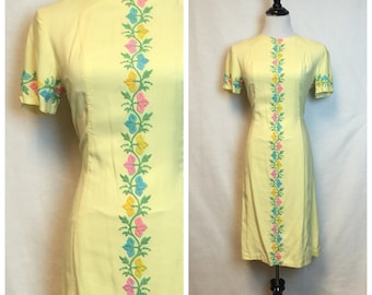 Summer Sale/Vintage Yellow Embroidered dress/ Floral 60's Wiggle Dress