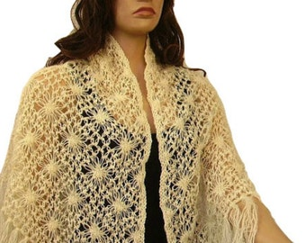 Cream Crochet Mohair Shawl, Fringe Scarf, Triangle, Woman Accessory, For Her, Ready To Ship, Express Cargo