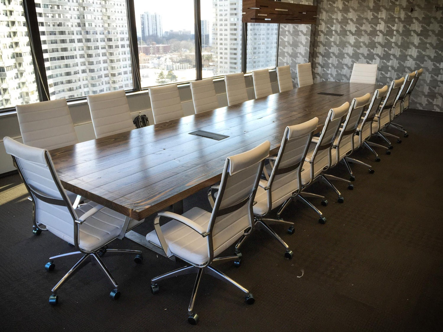 10ft Turkish Steel Conference Table | Rustic Boardroom Table With Steel  Legs | Solid Wood |