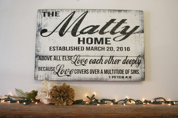 Love Each Other Deeply: Above All Else Love Each Other Deeply Pallet Sign Personalized