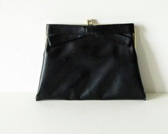 Vintage Black Bow Clutch
