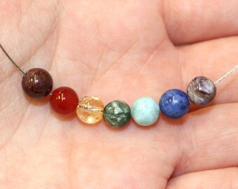 6mm Chakra Beads for Making Jewellery, 7 Beads: Garnet, Carnelian, Citrine, Seraphinite, Larimar, Sodalite, Chariote to align your chakras!