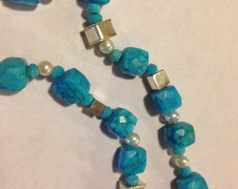 Unusual Turquoise and Sterling Silver Necklace