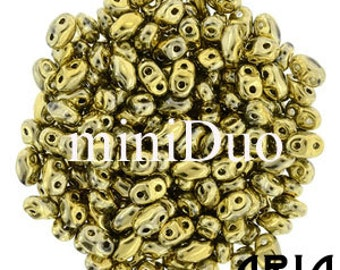 FULL AMBER: MiniDuo Two-Hole Czech Glass Seed Beads, 2x4mm (5 grams)