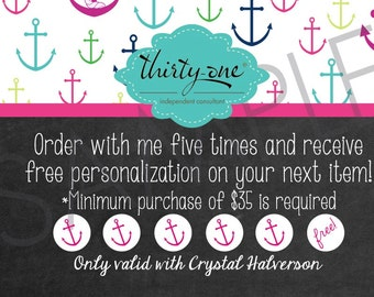 Thirty-One First Mate Inspired Customer Appreciation Reward Cards