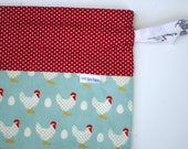 Polka Dot Chickens bag with cotton fabric ties for knitting & craft projects (small)