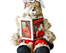 Porcelain Christmas Bunny Doll Eyelet Shawl