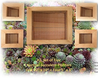 Reclaimed Wood Vertical Succulent Cedar Planter 5 Box Set Wire Hanging Living  Wall Art Herb Gardener