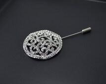 crystal broch filigree vintage