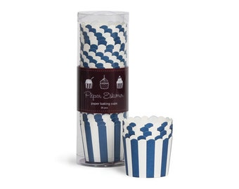 Navy Blue Striped Baking Cups (25 Count)