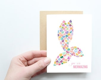 Valentines Card! You are mermazing card, greeting card, friendship card, mermaid card