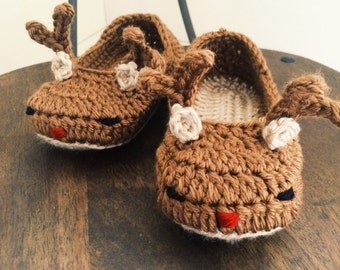 Toddler/Child Reindeer Slippers - Rudolph the Red-Nosed Reindeer slippers - Christmas slippers crochet shoes