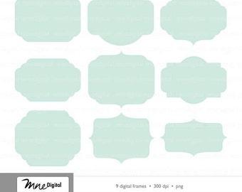 digital mint frames printable instant digital download png - Mint Picture Frames