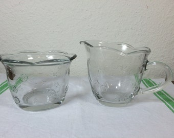 SALE! Glass Cream & Sugar  *FREE SHIPPING* Anchor Hocking Savannah Glass Cream and Sugar Set