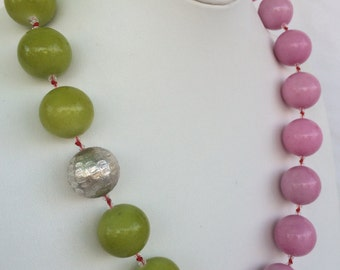 Pink Green Necklace