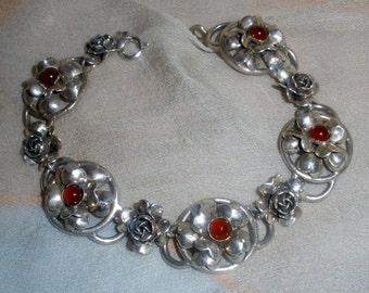 Vintage Hand Wrought Designer Signed Peruzzi Florence Silver 800 Rose Bracelet