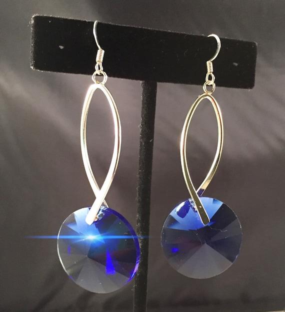 Hand cut vintage glass earrings