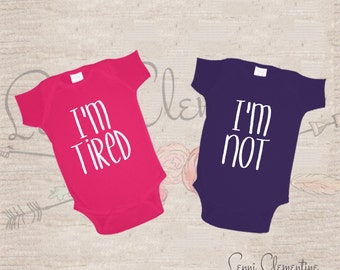 Twin Bodysuit Set - I'm Tired I'm Not Bodysuit - Hippie Baby Clothes - Hipster Baby Clothes - Hipster Twins  - Funny Twin Baby Gift - Funny