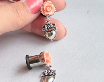 Tunnel plug gauge ear 6G 4G 2G 0G 4mm 5mm 6mm 8mm rose pink peach sacred heart pinup rockabilly tattoo sailor jerry piercing earring