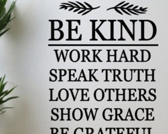 Be kind inspirational vinyl wall decal