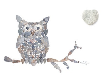 Owl - Whooo loves you - heart rock note card