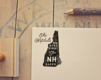 New Hampshire Return Address State Stamp - Personalized Rubber Stamp