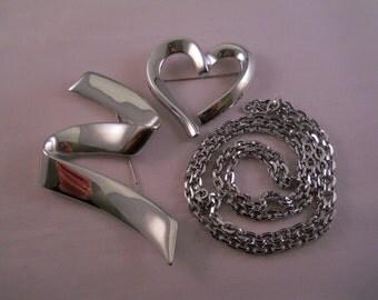 Vintage~ MONET~ Polished Silver Jewelry~ 3 Piece Lot~ Heart Brooch~ Giant Brooch~ Silver Chain Necklace~ Sleek & Modern