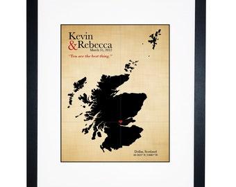 Cotton Anniversary Gift Scotland Wedding Map