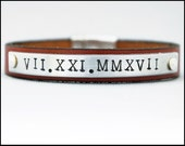 Personalized Leather Bracelet, Women's Engraved Bracelet, Customized Gift, 1st Anniversary Gift for Wife, Girlfriend Gift