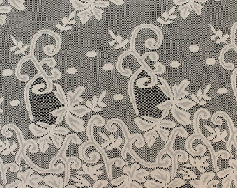 Natural Grace Lace Fabric With Double Floral Border  Fabric By The Yard - Style 557