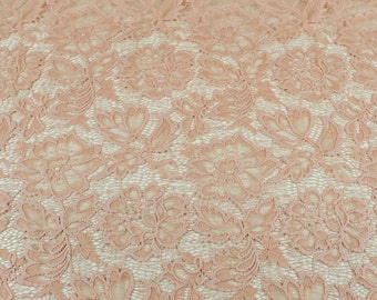 Peach Papaya Beauty Coleen Pattern Floral Stretch Lace Fabric by Yard - Style 647