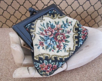 Vintage Floral Tapestry Coin Purse with Plastic Kiss Clasp - Carpet Bag Style Coin Purse -