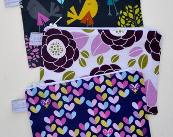 Choose Your Print and Size - Eco Friendly Reusable Snack Bag - Tweet As Can Be, Uptown Urban Blossom, Love Bug Hearts