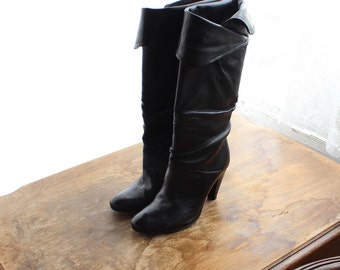 1980s Vintage Black Leather Tall Boots/ 80s Vintage Black Boots/ Leather 80s Knee High Boots
