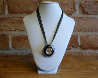 Organza ribbon Necklace with lampworked glass focal