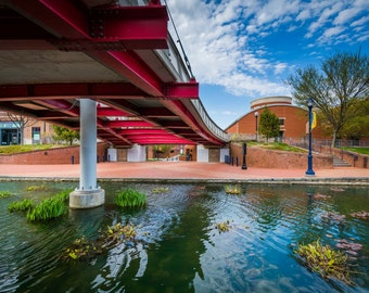 Modern bridge at Carroll Creek Linear Park, in Frederick, Maryland.   Photo Print, Stretched Canvas, or Metal Print.