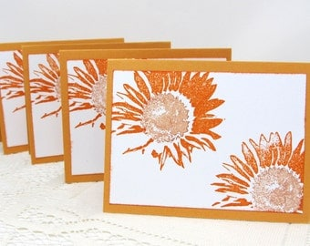 Small Sunflower Cards - Set of 4 Cards - Small Note Cards - Autumn Theme - Copper and Dark Orange - Blank - Hand Stamped - Note Card Set