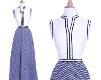 70s polka dot striped maxi dress - xs or small