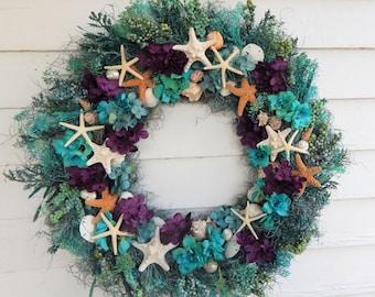 Seashore Wreath w/ Sugar & Toothed Starfish- Front Door Wreath, Coastal Decor, Seashell Wreath, Nautical WreathBeach Wreath