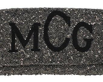 Custom Beaded Monogram Flap Handbag Purse Clutch