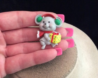 Vintage Signed Russ Christmas Mouse Pin