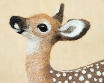 Made to Order Needle Felted Deer Fawn: Custom needle felted animal sculpture