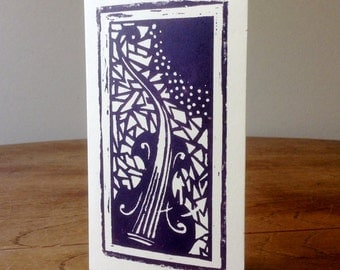 Block print greetings card violin