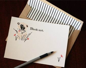 "Thank You Note Cards and Matching Lined Envelopes; 5"" x 7"" featuring hand drawn artwork -  set of 4"