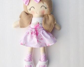Cloth doll - fabric doll  - handmade doll - modern rag doll - girls room decor - girls toy - dress up doll - baby gift