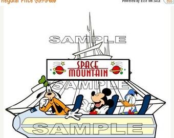 ON SALE - Disney Magic Kingdom Space Mountain Ride Scrapbook Paper Piece Piecing